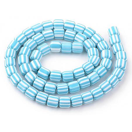 Acheter Boite de perles tubes Heishi 6 mm - rayé bleu turquoise - 1,99€ en ligne sur La Petite Epicerie - Loisirs créatifs