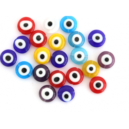 Acheter 20 perles rondes en verre - œil porte bonheur - multicolore - 12 mm - 7,99€ en ligne sur La Petite Epicerie - Loisir...
