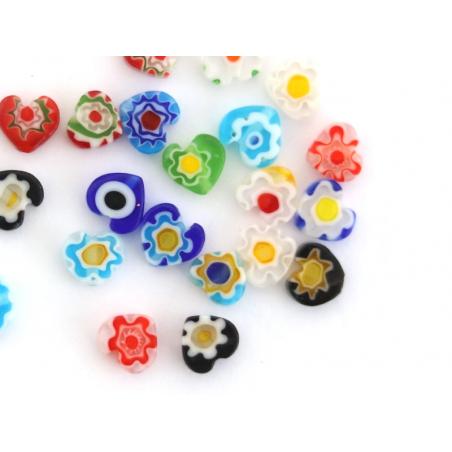 Acheter 20 perles millefiori en verre - coeur - 6 mm - 3,39€ en ligne sur La Petite Epicerie - Loisirs créatifs