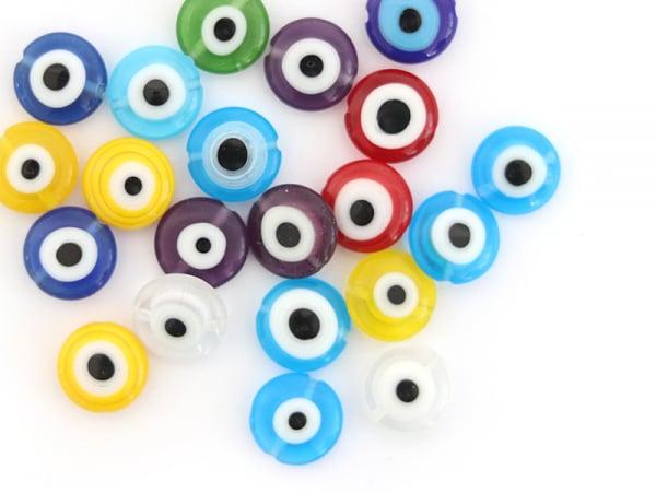 Acheter 20 perles rondes en verre - œil porte bonheur - multicolore - 10 mm - 6,99€ en ligne sur La Petite Epicerie - Loisir...