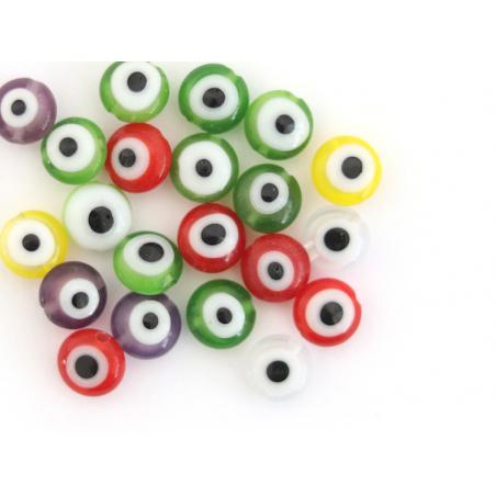 Acheter 20 perles rondes en verre - œil porte bonheur - multicolore - 6 mm - 3,19€ en ligne sur La Petite Epicerie - Loisirs...