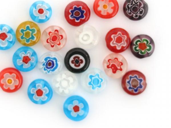 Acheter 20 perles millefiori en verre - rond plat - 8x3 mm - 2,79€ en ligne sur La Petite Epicerie - Loisirs créatifs