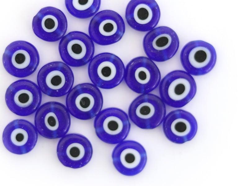 Acheter 20 perles rondes en verre - œil porte bonheur - bleu roi - 8 mm - 2,49€ en ligne sur La Petite Epicerie - Loisirs cr...