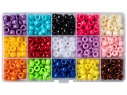 Acheter Boite d'assortiment de perles basiques pour enfants / Pony beads - 15 couleurs - 9,99€ en ligne sur La Petite Epicer...