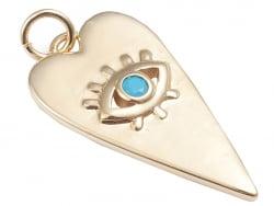 Acheter Breloque dorée à l'or fin 18 K – Coeur allongé avec œil strass bleu - 1,49€ en ligne sur La Petite Epicerie - Loisir...