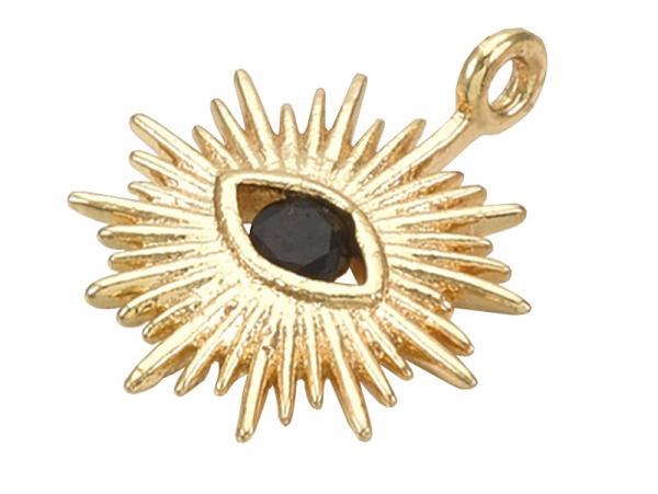 Acheter Breloque dorée à l'or fin 18K – Soleil avec œil strass noir - 1,49€ en ligne sur La Petite Epicerie - Loisirs créatifs