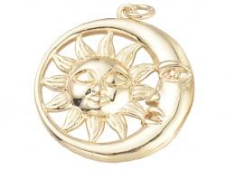 Acheter Pendentif doré à l'or fin 18K – Lune et soleil - 1,99€ en ligne sur La Petite Epicerie - Loisirs créatifs