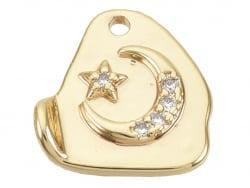 Acheter Breloque dorée à l'or fin 18K – Lune et étoile à strass - 1,29€ en ligne sur La Petite Epicerie - Loisirs créatifs
