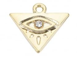 Acheter Breloque dorée à l'or fin 18K – Triangle avec œil strass blanc - 0,89€ en ligne sur La Petite Epicerie - Loisirs cré...