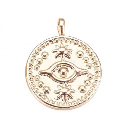 Acheter Pendentif doré à l'or fin 18K – Oeil talisman - 1,49€ en ligne sur La Petite Epicerie - Loisirs créatifs