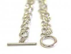 Dark silver-coloured charm barcelet - toggle clasp