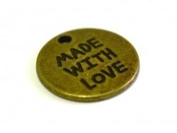 """1 Medaillonanhänger mit der Aufschrift """"Made with love"""" - bronzefarben"""
