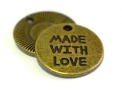 """1 locket charm bearing the words """"Made with love"""" - bronze-coloured"""