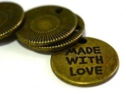 """Acheter 1 Breloque médaillon """"Made with love"""" - couleur bronze - 0,89€ en ligne sur La Petite Epicerie - Loisirs créatifs"""