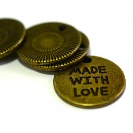 """Acheter 1 Breloque médaillon """"Made with love"""" - couleur bronze - 0,89€ en ligne sur La Petite Epicerie - 100% Loisirs créatifs"""