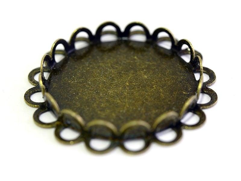 Round, bronze-coloured cabochon base, 25 mm