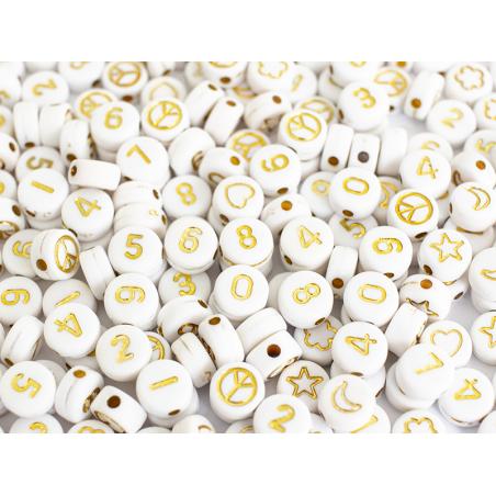 Acheter Pot perles symboles et chiffres - Blanc - 5,99€ en ligne sur La Petite Epicerie - Loisirs créatifs