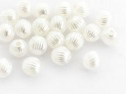 Acheter 20 perles en plastique imitation perles de culture - rond strié - 6 mm - 0,99€ en ligne sur La Petite Epicerie - Loi...