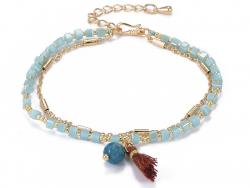 Acheter Bracelet multirangs - tons de bleu - doré à l'or fin 18 K - 6,99€ en ligne sur La Petite Epicerie - Loisirs créatifs