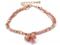 Acheter Bracelet multirangs - tons de rose corail - doré à l'or fin 18 K - 6,99€ en ligne sur La Petite Epicerie - Loisirs c...
