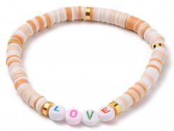 Acheter Bracelet Love en perles heishi - beige - 6,99€ en ligne sur La Petite Epicerie - Loisirs créatifs