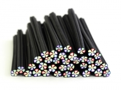 Cane fleur noire et multicolore