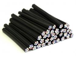 Cane fleur noire et multicolore en pâte fimo - à découper en tranches