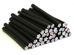 Flower cane - black and multicoloured