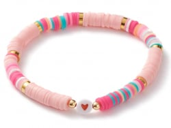 Acheter Bracelet en perles heishi avec petit cœur - tons de rose - 6,99€ en ligne sur La Petite Epicerie - Loisirs créatifs