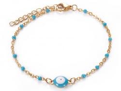 Acheter Bracelet avec œil bleu porte bonheur - émaillé - acier 304 - 6,99€ en ligne sur La Petite Epicerie - Loisirs créatifs