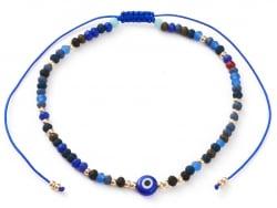 Acheter Bracelet perles œil bleu - porte bonheur - taille ajustable - 6,99€ en ligne sur La Petite Epicerie - Loisirs créatifs
