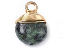 Acheter Pendentif en pierre naturelle - rubis sur Zoïsite / Anyolite - rond - 15 x 11 mm - 2,99€ en ligne sur La Petite Epic...