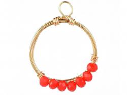 Acheter Pendentif rond avec perles à facettes - rouge - Doré à l'or fin 18K - 1,19€ en ligne sur La Petite Epicerie - Loisir...
