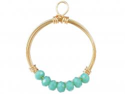 Acheter Pendentif rond avec perles à facettes - turquoise - Doré à l'or fin 18K - 1,19€ en ligne sur La Petite Epicerie - Lo...