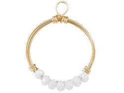 Acheter Pendentif rond avec perles à facettes - blanc - Doré à l'or fin 18K - 1,19€ en ligne sur La Petite Epicerie - Loisir...