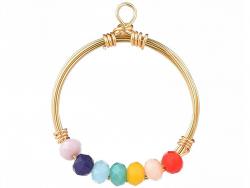 Acheter Pendentif rond avec perles à facettes - multicolore - Doré à l'or fin 18K - 1,19€ en ligne sur La Petite Epicerie - ...