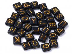 Acheter 200 perles rectanglulaires en plastique - lettres alphabet - noir et doré - 8 mm - 5,99€ en ligne sur La Petite Epic...