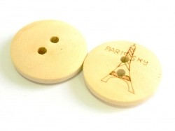 Wooden button (20 mm) - Eiffel Tower