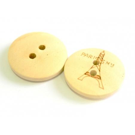 Wooden button (20 mm) - Eiffel Tower