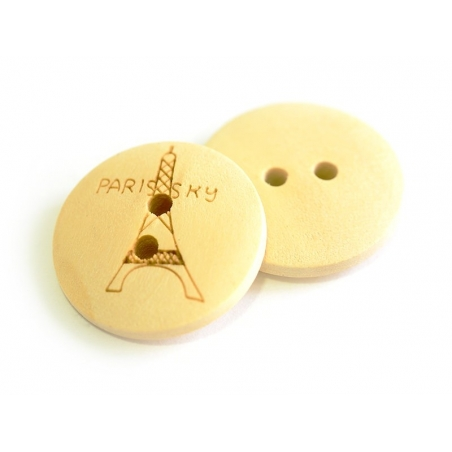 Bouton en bois 20mm - tour Eiffel