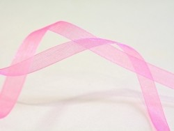 1 m of organza ribbon (6 mm) - Pale/neon pink