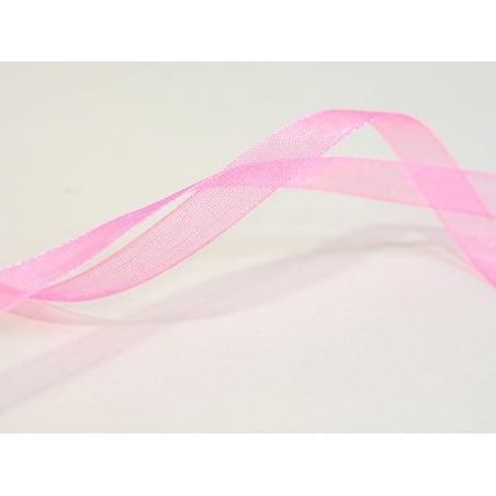 1 m of organza ribbon (6 mm) - Pale/neon pink