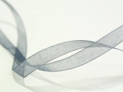 1 m of organza ribbon (6 mm) - Grey