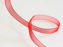 1 m of organza ribbon (6 mm) - Red  - 1