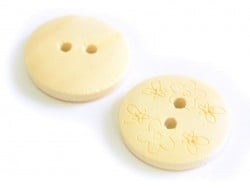 Wooden button (20 mm) - Small flowers