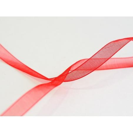 1 m of organza ribbon (6 mm) - Red  - 2