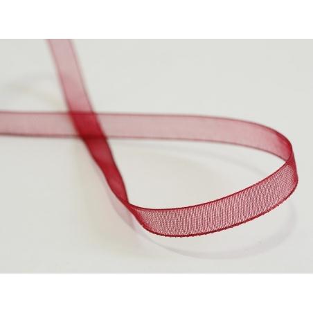 1 m of organza ribbon (6 mm) - Burgundy  - 2