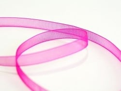 1 m of organza ribbon (6 mm) - fuchsia/pink  - 1