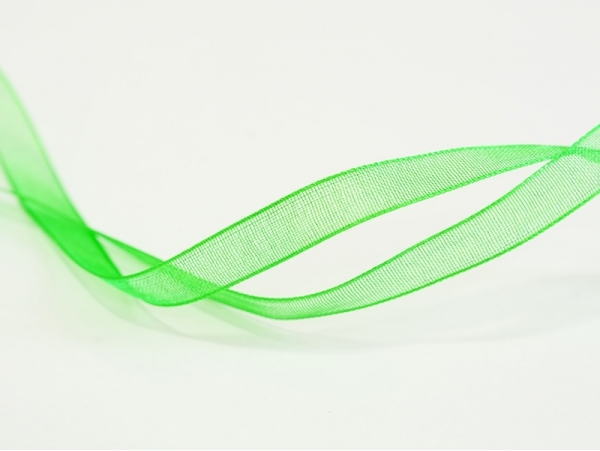 1 m of organza ribbon (6 mm) - Grass green  - 1