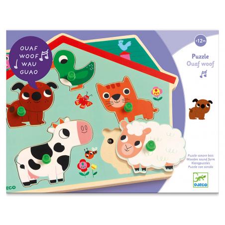 Acheter Puzzle sonore en bois - Ouaf woof - les naimaux familiers - 26,99€ en ligne sur La Petite Epicerie - Loisirs créatifs